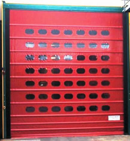 Porta ràpida autoreparable impactable VECTORFLEX vermella