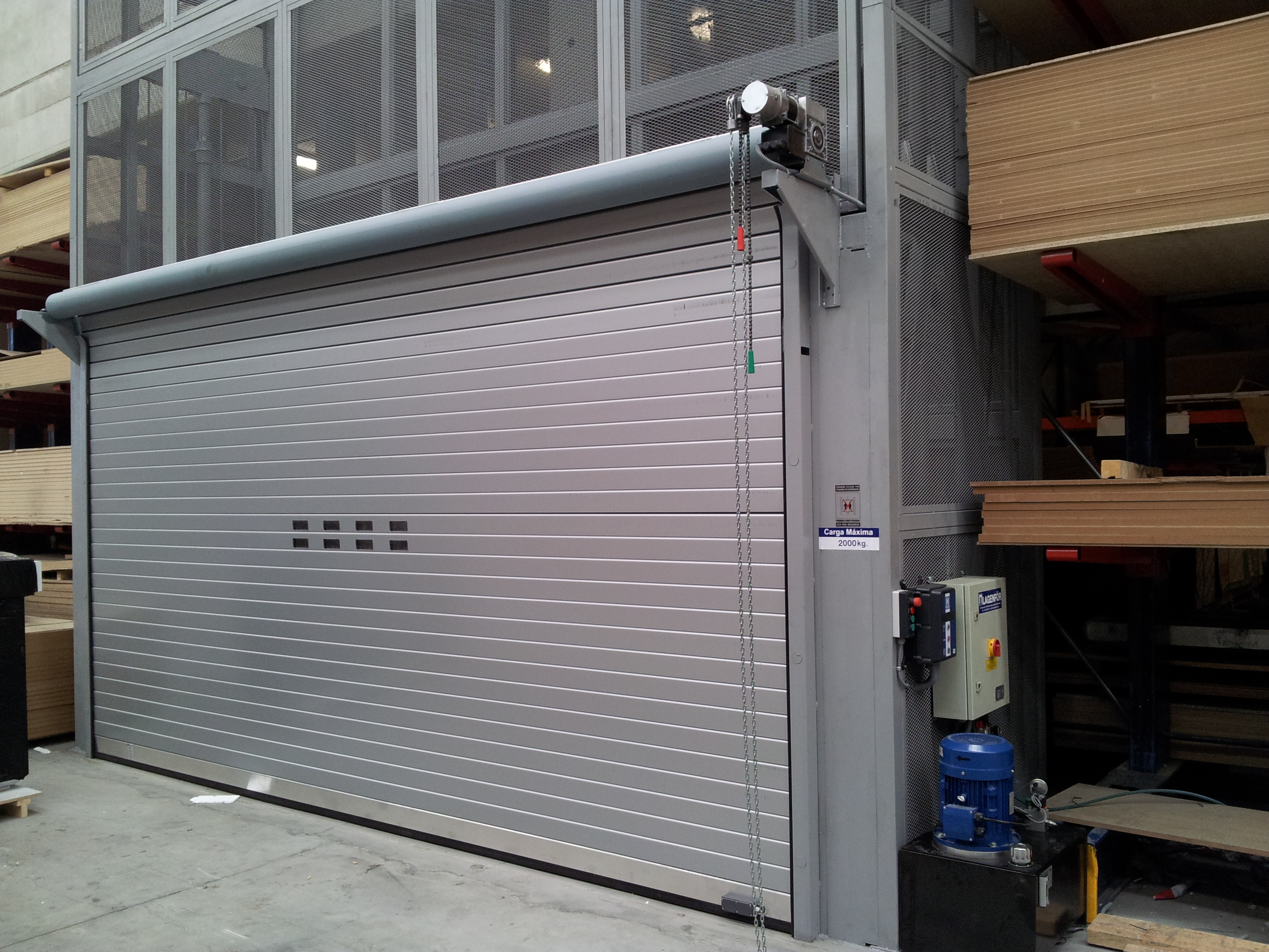 Plt with gray roll-up doors