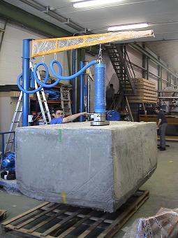 Manipulador de vacio trompex para bloques de piedra