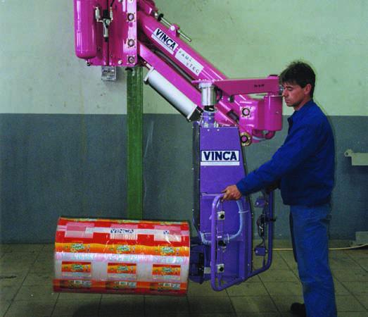 Manipulador ingrávido para bobinas con vástago expansivo