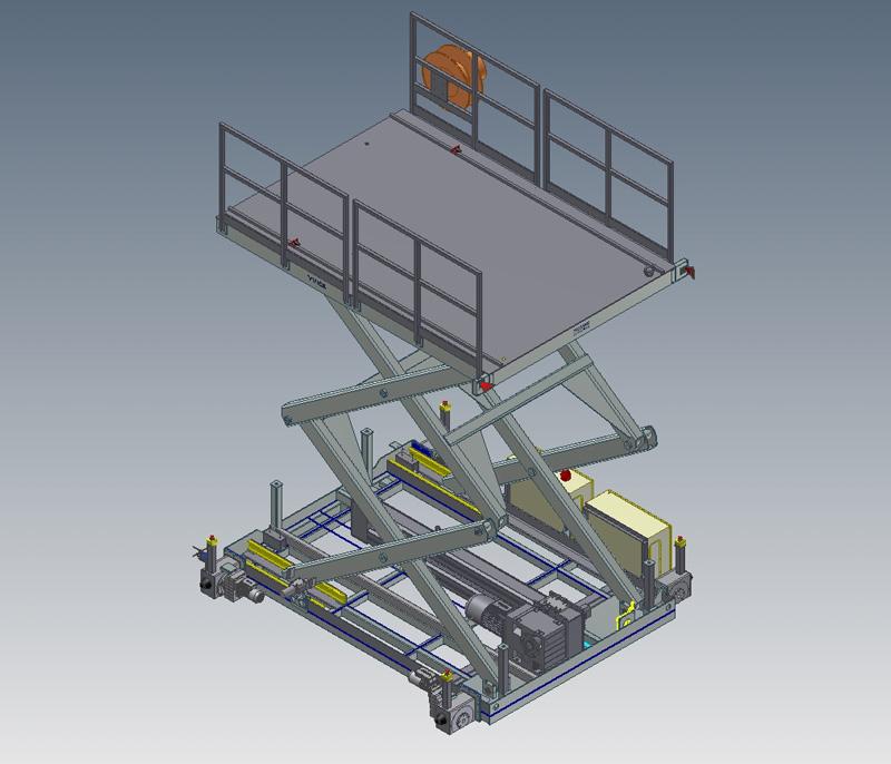 Mesa de tijera electromecánica con cadena 3d 2