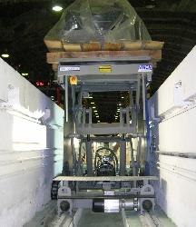 Mesa elevadora de tijera doble movil sobre rail sector ferroviario