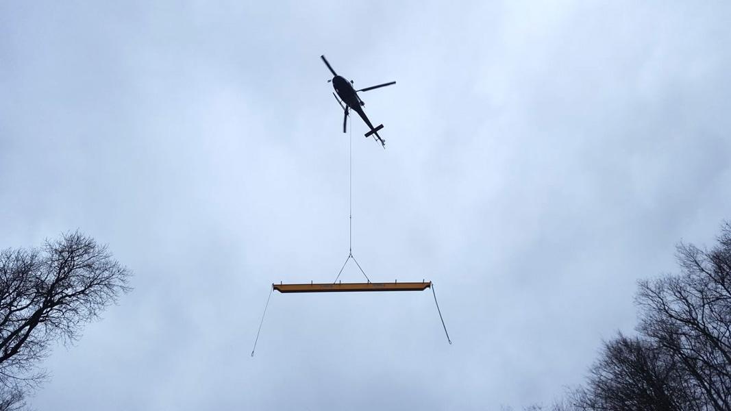 Transporte Helicóptero puente Grúa