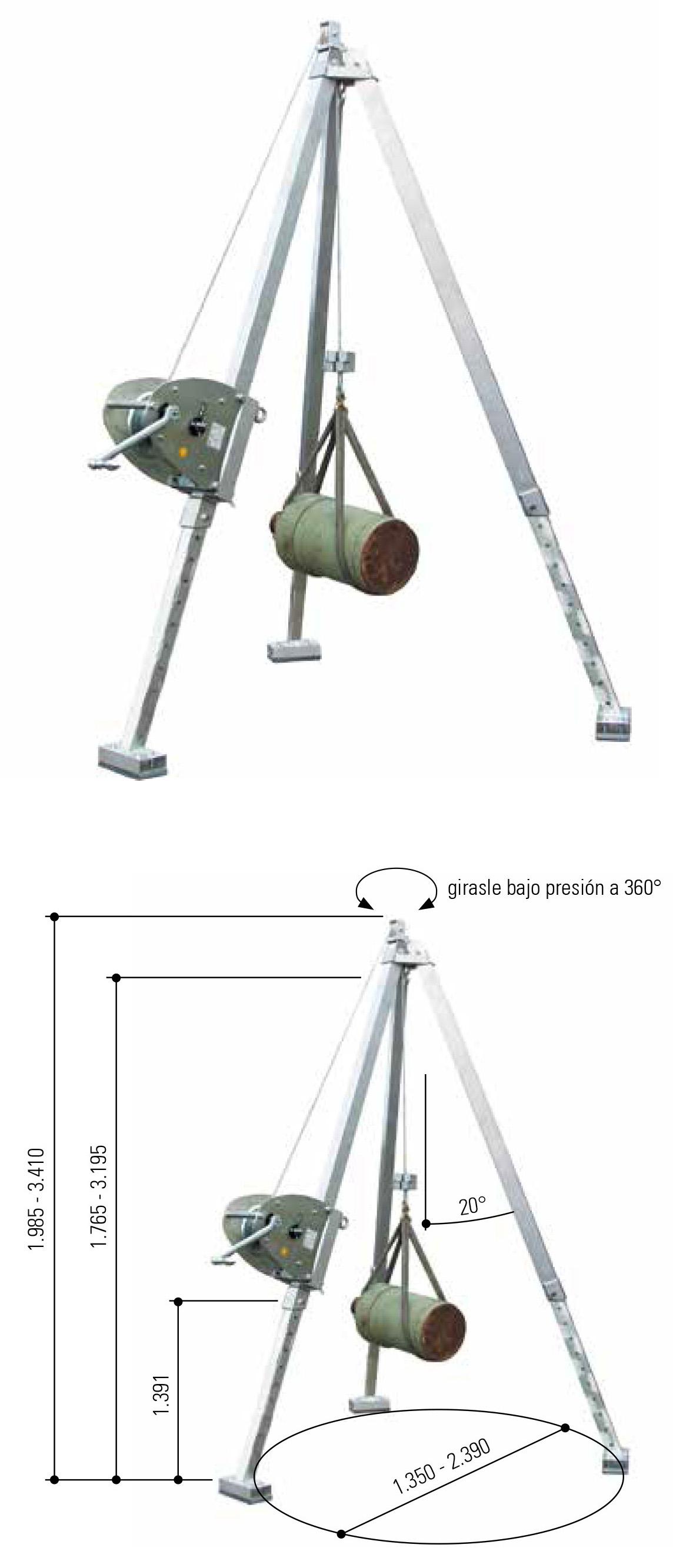 Trípode de Aluminio con Torno de Cable Manual