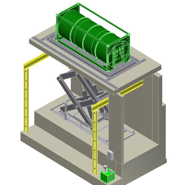 Taula d'elevació per a contenidors