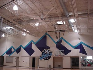 Industrial fan basketball court