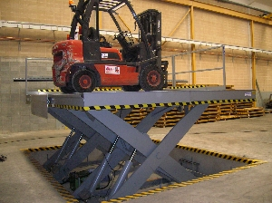 Simple scissor lift table for loading dock