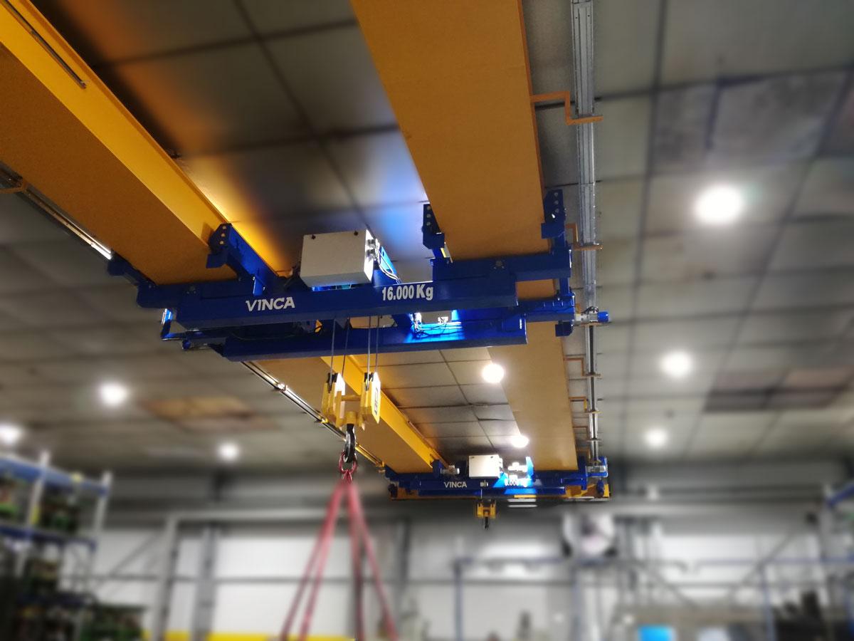Project DAVE: Pont roulant bipoutre avec chariot double suspendu